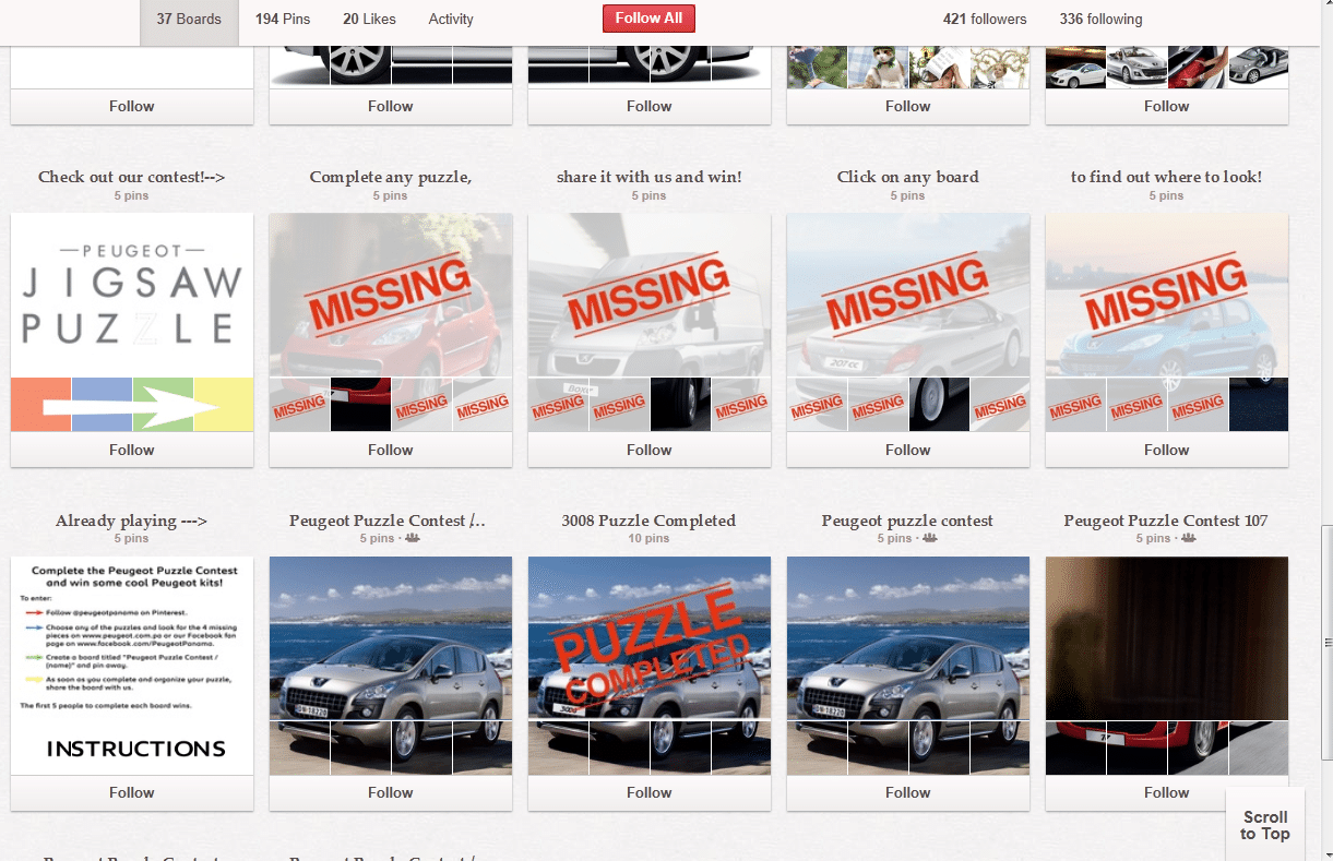 Peugeot Pinterest Puzzle Social Media Campaign